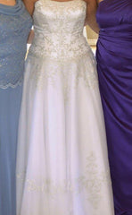 David's Bridal 'Ballgown' size 14 used wedding dress front view on bride