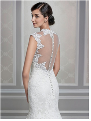 Kenneth Winston '1609' size 8 used wedding dress back view on model