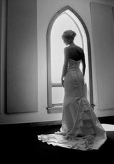Custom 'Dupioni Silk' size 4 used wedding dress back view on bride