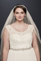 Tulle Plus Size With Lace Cap Sleeve