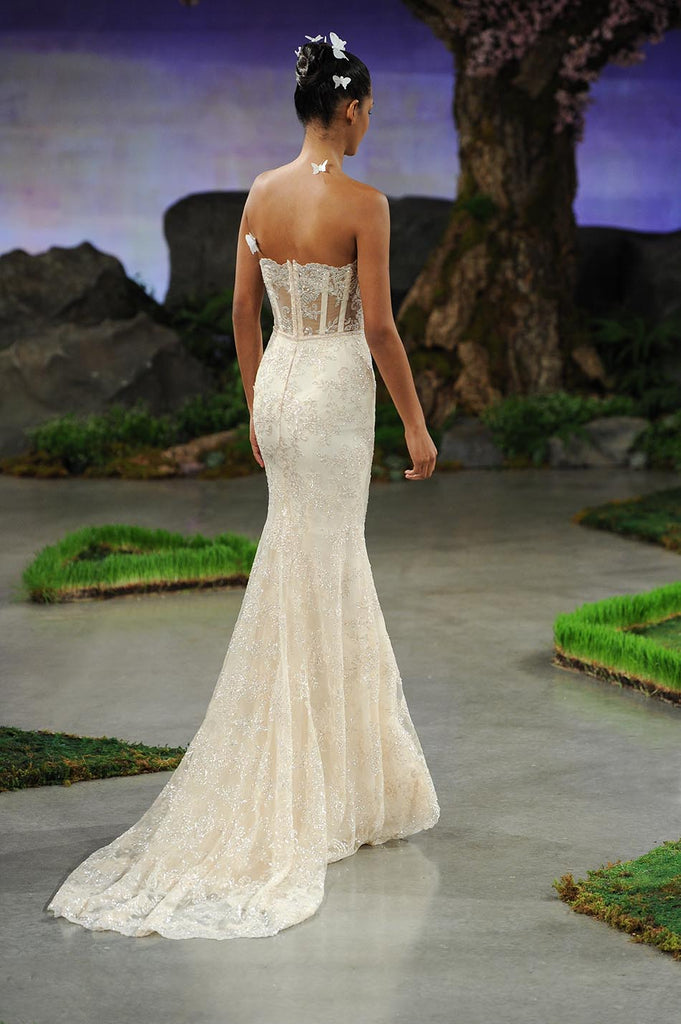 Ines Di Santo 'Honey' size 8 used wedding dress back view on model