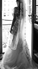 Justin Alexander 'Trumpet' size 4 used wedding dress back view on bride