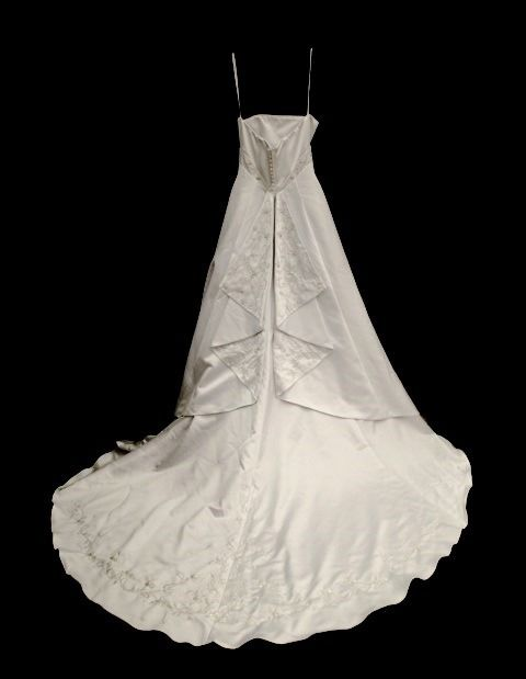 David's Bridal 'Michelangelo Signature' size 10 used wedding dress back view on hanger