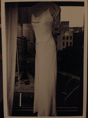 Amsale 'Cowl-Scoop' size 10 used wedding dress front view on bride