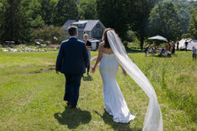 Load image into Gallery viewer, Louvienne 'Colette' size 8 used wedding dress back view on bride