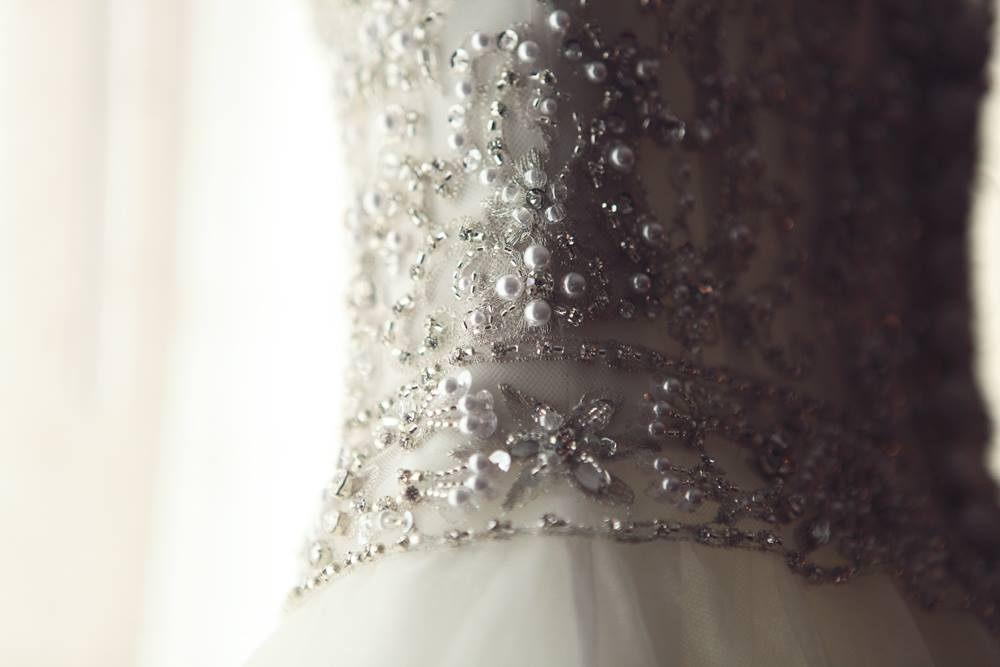 Dennis Basso 'Ball Gown' size 0 used wedding dress close up of beading