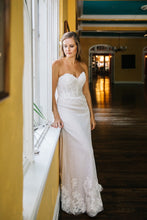 Load image into Gallery viewer, BHLDN 'Lorena' size 8 used wedding dress front view on bride