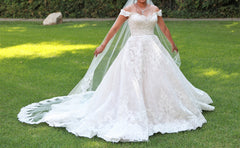 Allure 'C461' size 10 used wedding dress front view on bride