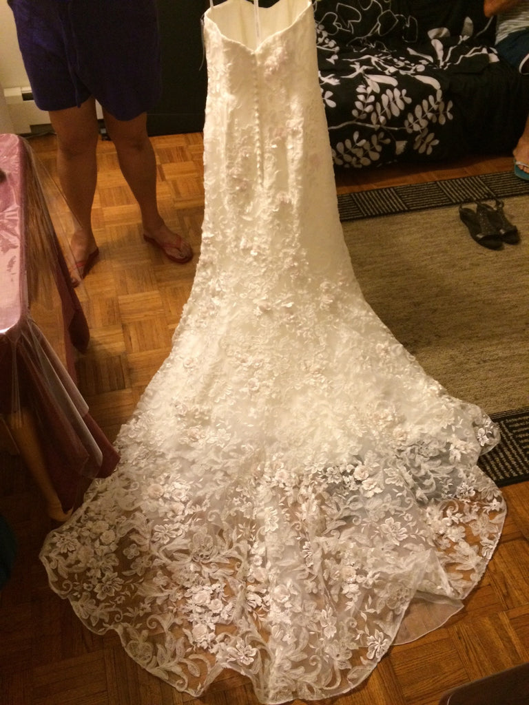 Oleg Cassini Strapless Lace - Oleg Cassini - Nearly Newlywed Bridal Boutique - 3