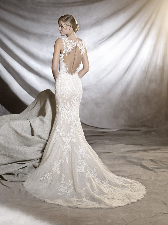 Pronovias 'Orlara' size 2 used wedding dress back view on model