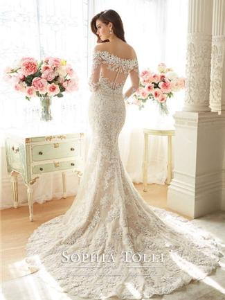 Sophia Tolli 'Off The Shoulder' size 2 used wedding dress back view on model