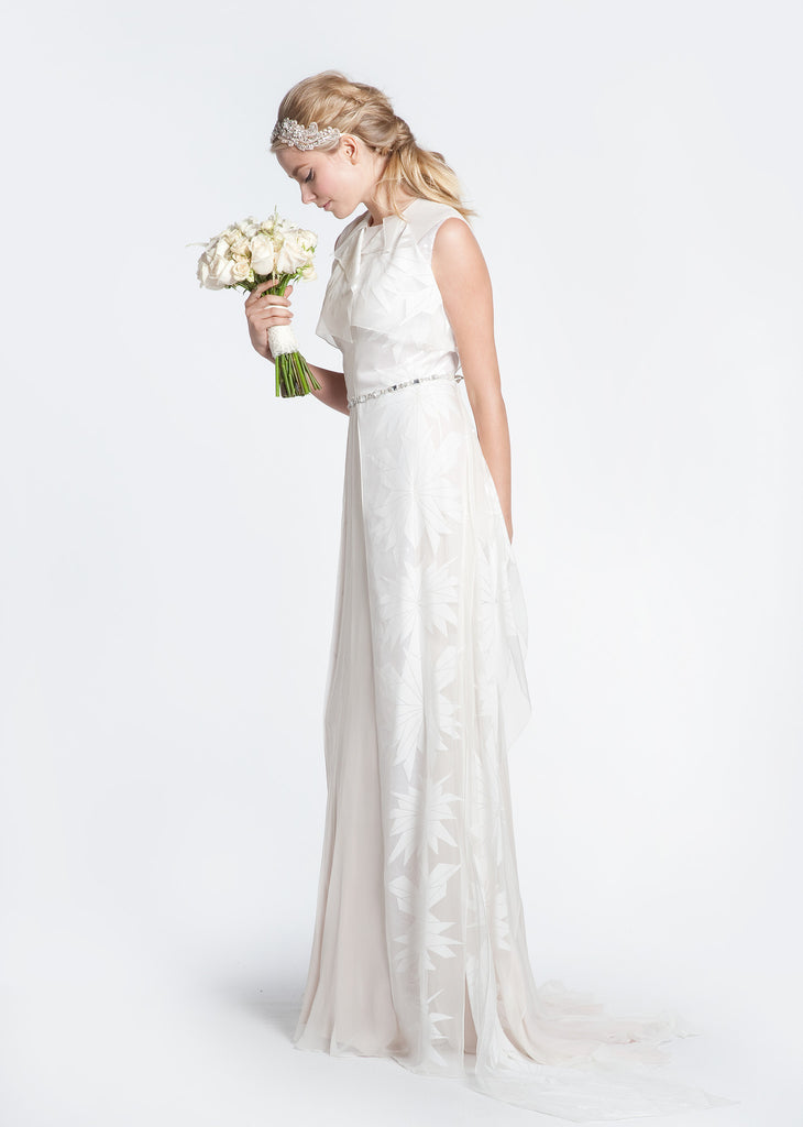 Bibhu Mohapatra 'Gwyneth' Blush & White Floral Wedding Dress - Bibhu Mohapatru - Nearly Newlywed Bridal Boutique - 1