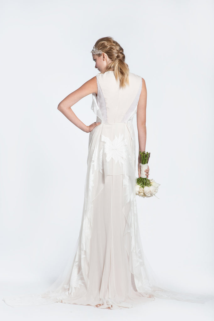 Bibhu Mohapatra 'Gwyneth' Blush & White Floral Wedding Dress - Bibhu Mohapatru - Nearly Newlywed Bridal Boutique - 3