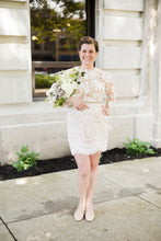 Load image into Gallery viewer, BHLDN 'Tiana' size 12 used wedding dress front view on bride