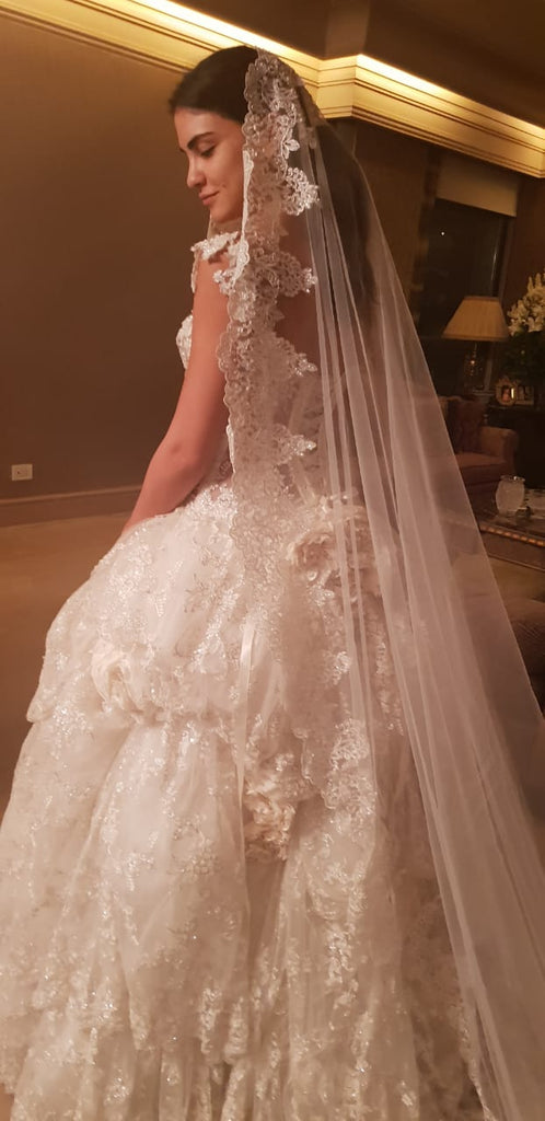 Pnina Tornai 'Princess Full Embroidered' size 8 new wedding dress  back view on bride