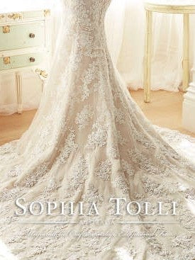 Sophia Tolli 'Off The Shoulder' size 2 used wedding dress view of train