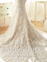 Load image into Gallery viewer, Sophia Tolli 'Off The Shoulder' size 2 used wedding dress view of train