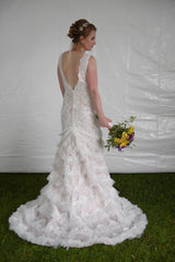 Galina Signature 'Extra Length V-Plunge Gown With Tiered SkirtTulle ' wedding dress size-08 NEW