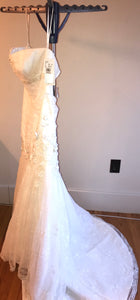 Oleg Cassini 'CWG377' size 14 new wedding dress side view on hanger
