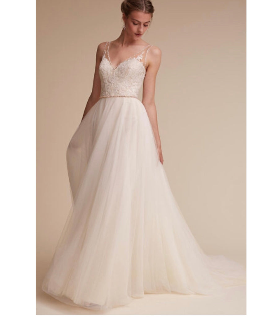 BHLDN 'Cassia' size 6 new wedding dress front view on model