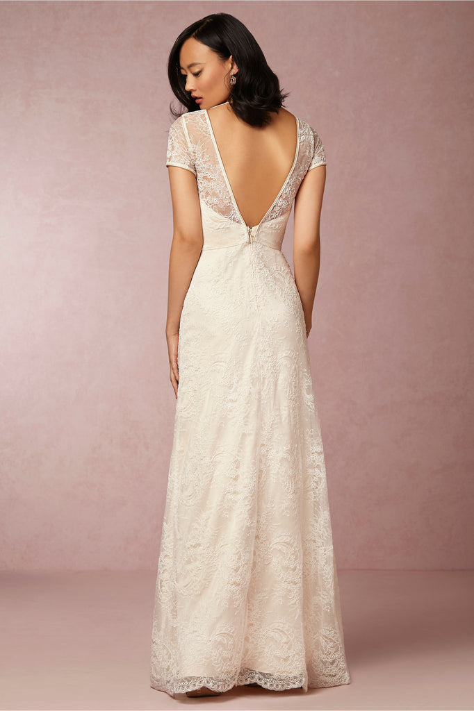 Bhldn 39 avery 39 size 4 used wedding dress nearly newlywed for Resell your wedding dress
