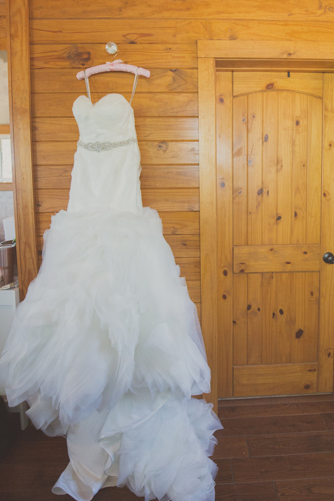 Moonlight 'J6434' size 6 used wedding dress front view on hanger