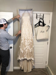 Justin Alexander 'Custom' size 8 used wedding dress front view on hanger