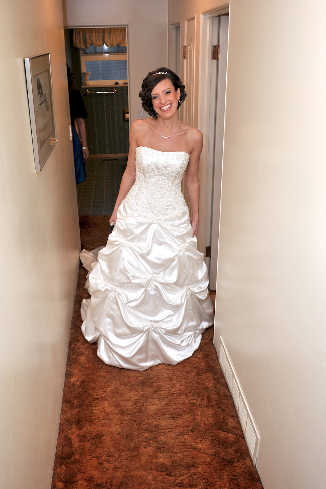 A.C.E. ' 2109' size 6 used wedding dress front view on bride