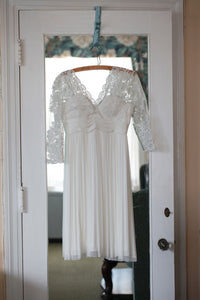 BHLDN 'Omari' size 4 used wedding dress front view on hanger