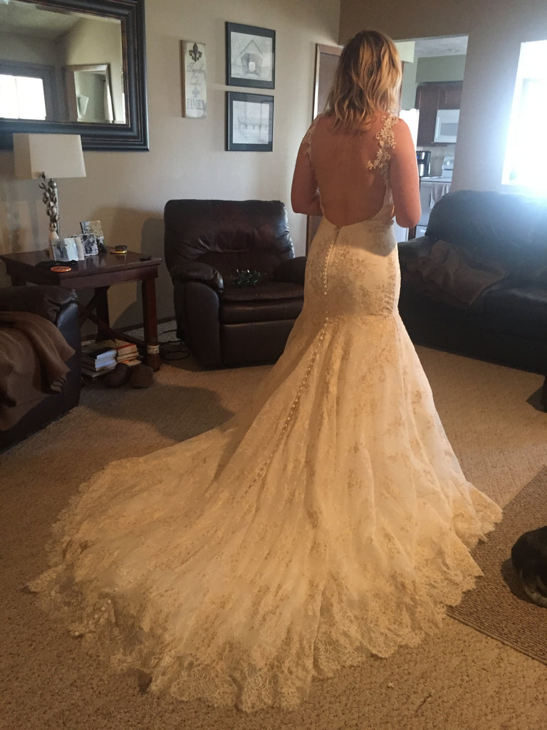 Madison James '105' size 10 sample wedding dress back view on bride
