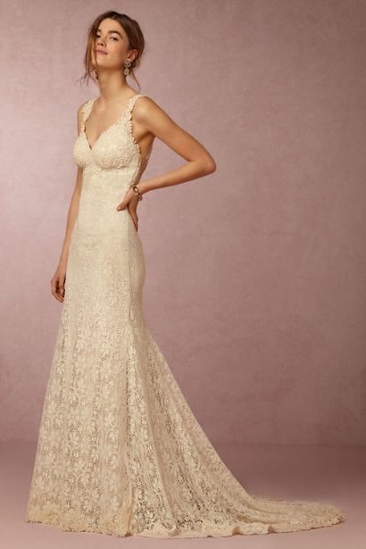 BHLDN 'Petra' size 0 used wedding dress front view on model
