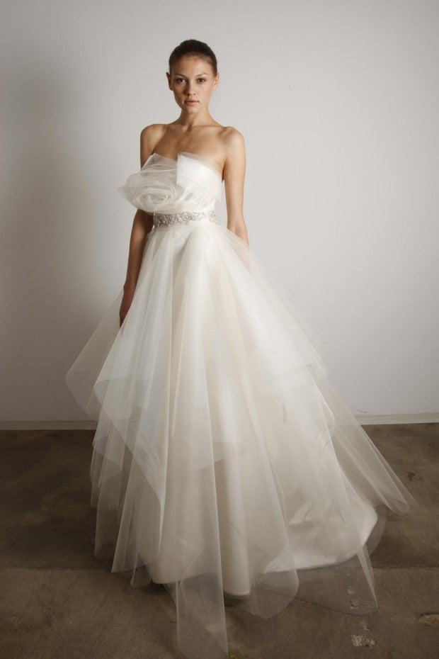 Marchesa Tulle Rosette Princess Gown - Marchesa - Nearly Newlywed Bridal Boutique - 1