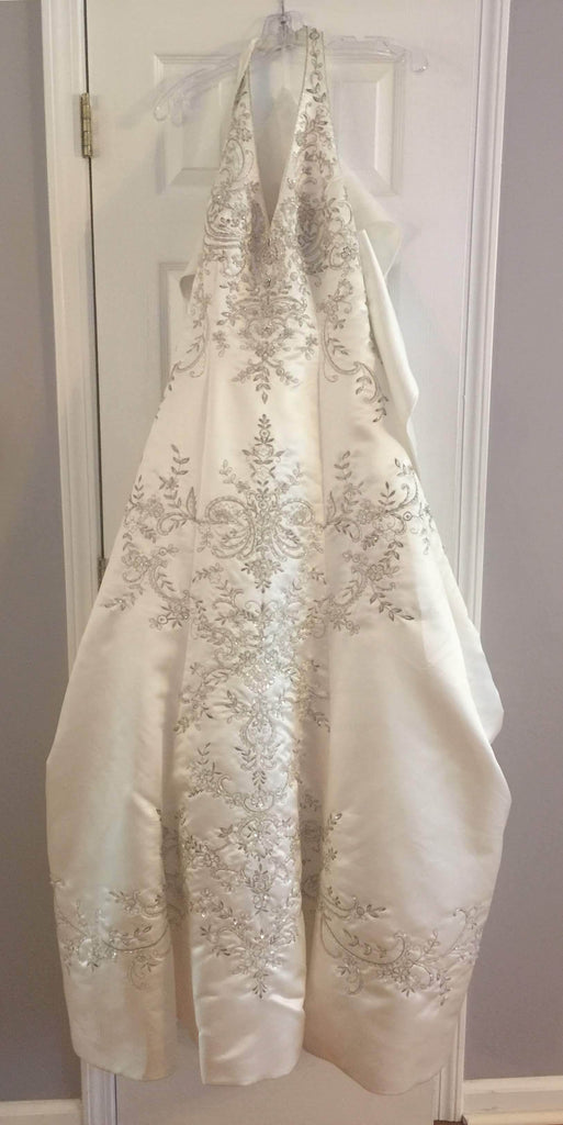 Custom '2001' size 12 new wedding dress front view on hanger