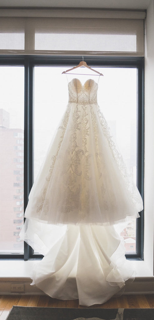 'Stella York 'Organza Princess' size 8 used wedding dress front view on hanger