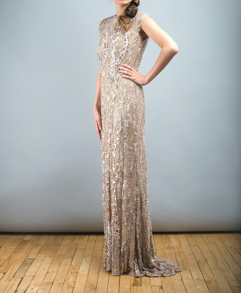 Elie Saab Light Taupe Fully Sequined Wedding Dress - Elie Saab - Nearly Newlywed Bridal Boutique - 4