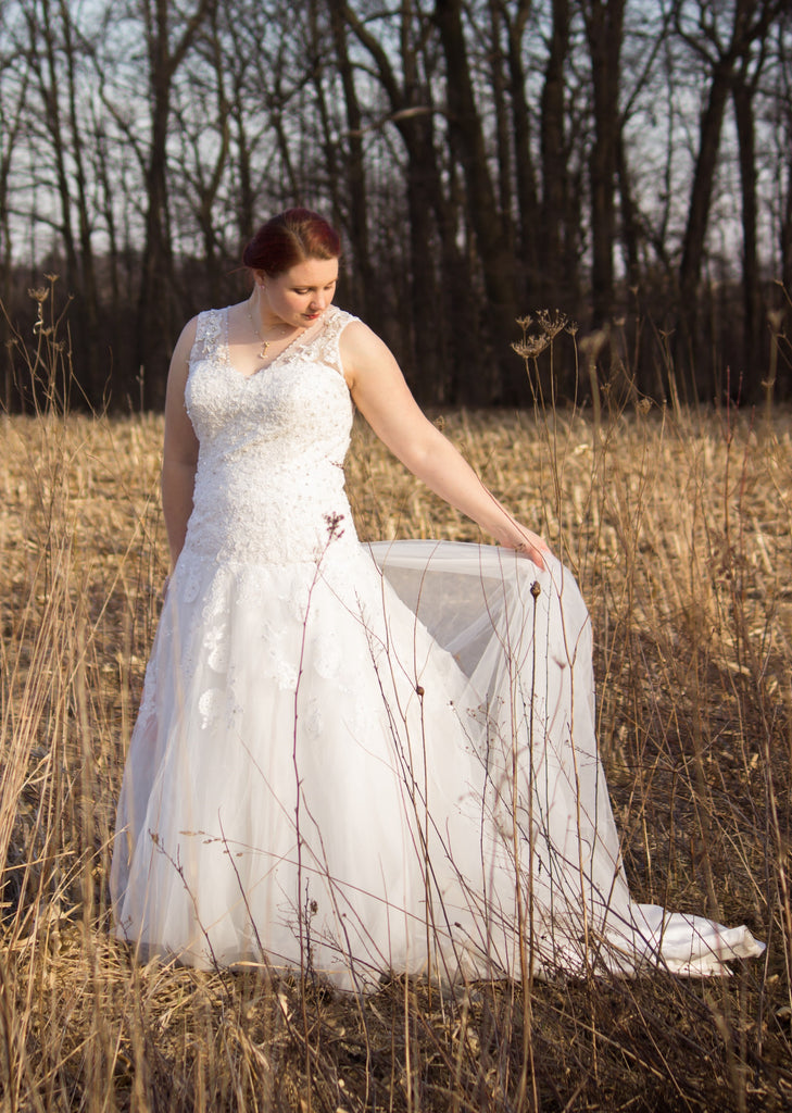 Custom 'Michala' size 16 used wedding dress front view on bride