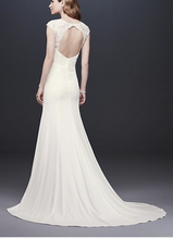 Load image into Gallery viewer, David's Bridal 'Cap Sleeve Crepe Sheath' size 12 new wedding dress back view on model