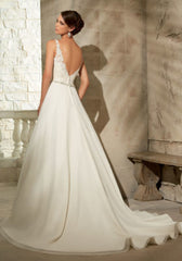 Mori Lee 'Chiffon' size 2 used wedding dress back view on model