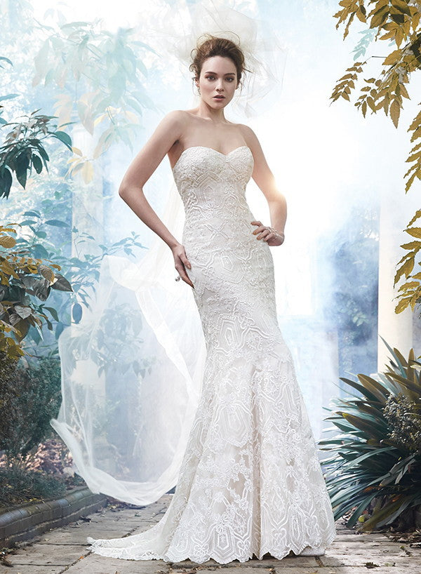 Maggie Sottero 'Fall 2015' size 8 used wedding dress front view on model