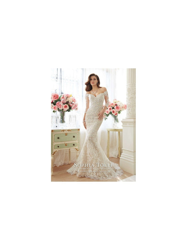 Sophia Tolli 'Off The Shoulder' size 2 used wedding dress front view on model