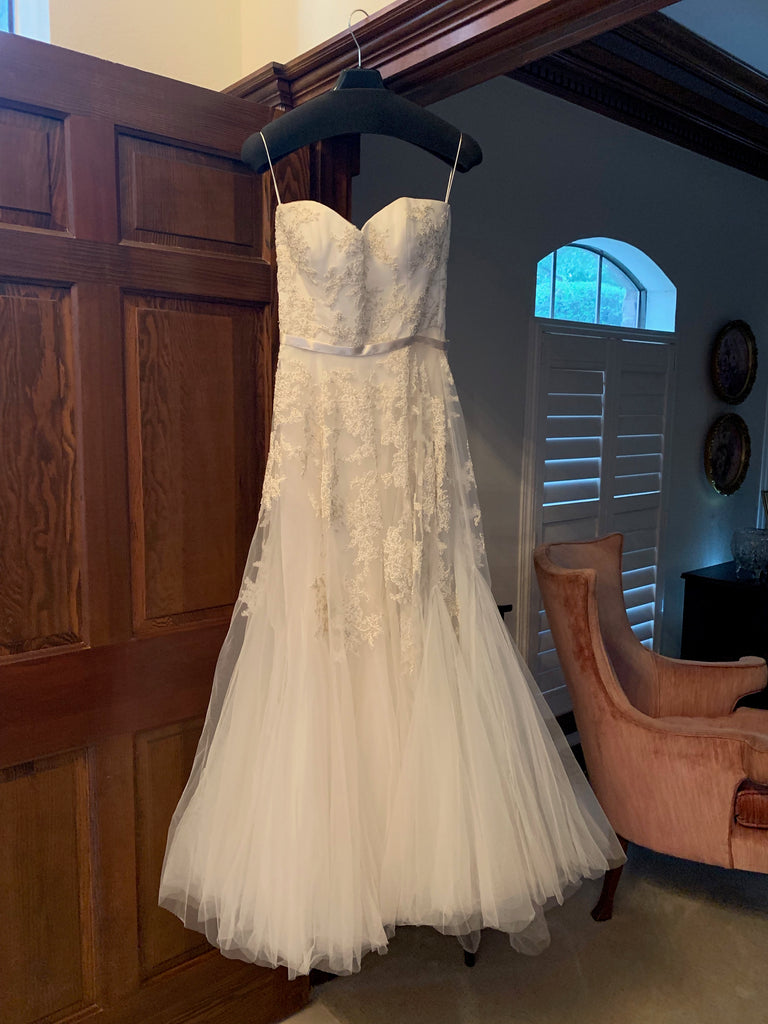 Reem Acra 'Dreamy' size 12 used wedding dress front view on hanger