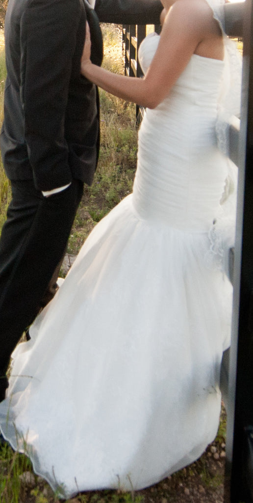 Mori Lee '1602' size 10 used wedding dress side view on bride