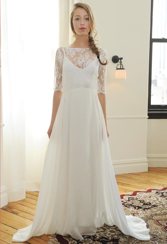 Sarah Seven 'Bleeker' size 2 new wedding dress front view on bride
