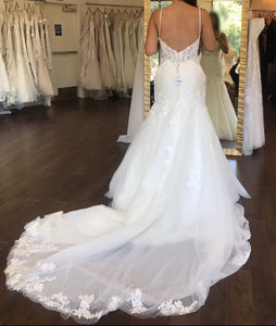 Martina Liliana 'Beaded Lace' size 8 used wedding dress back view on bride