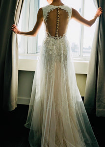 Galina Signature 'SWG722' size 0 used wedding dress back view on bride