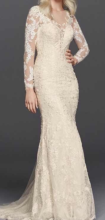 Galina Signature 'Lace Long Sleeve' size 12 used wedding dress front view on model