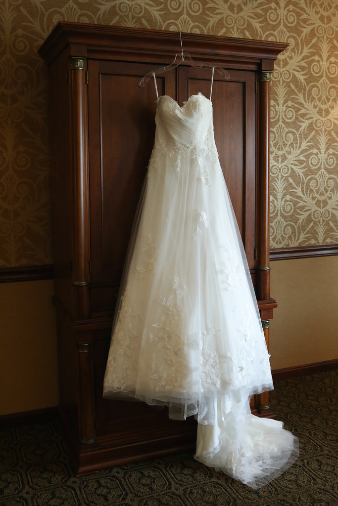 Rebecca Ingram 'Eleanor' size 00 used wedding dress front view on hanger