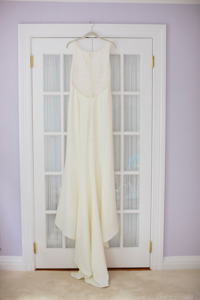 Amsale 'Heather A672' size 12 used wedding dress back view on hanger