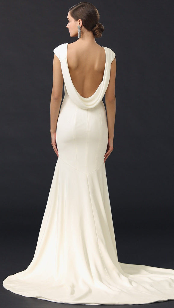 Theia 'Daria' size 10 used wedding dress back view on model