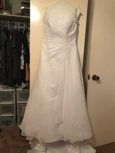Davids Bridal 'Drape A-Line' size 10 used wedding dress front view on hanger